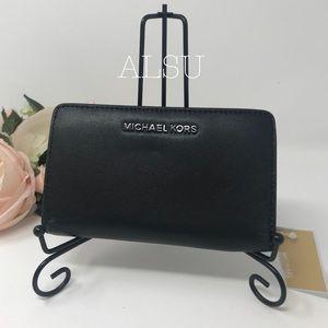 Michael Kors Bifolder Wallet Leather Black Silver